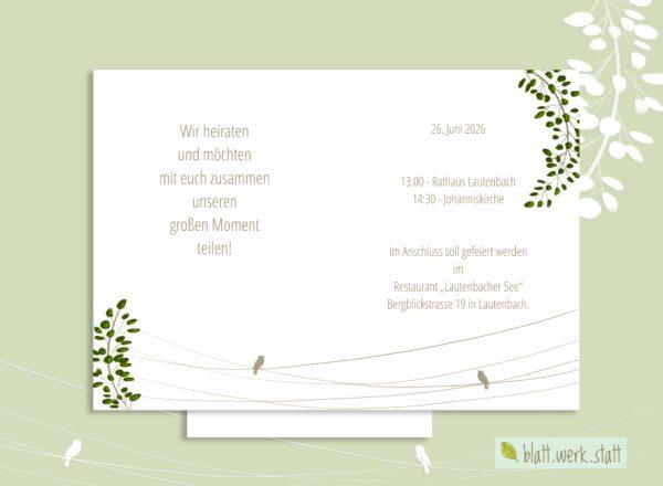Hochzeitseinladung mit Zweigen und Vögeln und individuellen Daten
