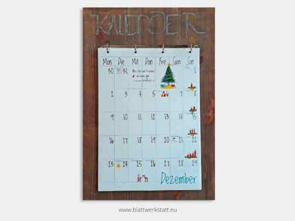 Kalenderbrett braun fuer Kalenderblatter A3