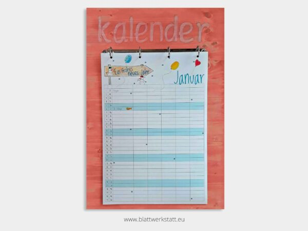 Kalenderbrett rosa fuer Kalenderblatter A3