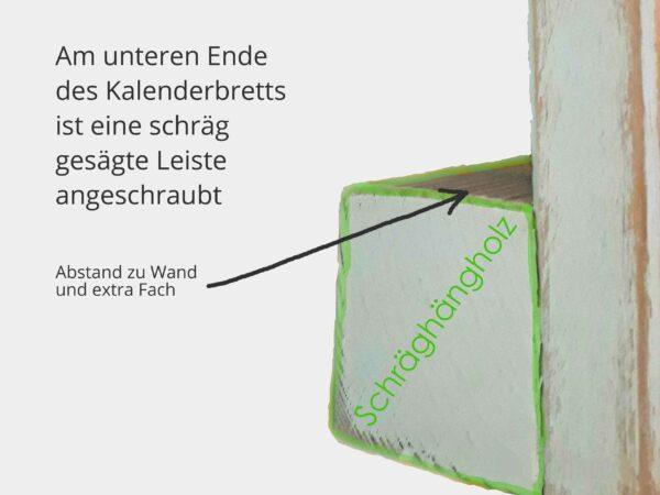 Kalenderbrett Schraeghaengholz Skizzenfoto