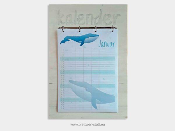 Kalenderbrett weiss fuer Kalenderblatter A3