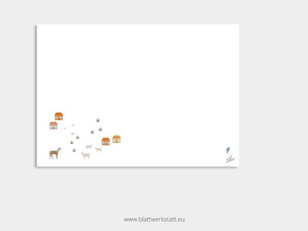 Klappkarte zur Konfirmation Landleben mit Kirche, Haeusern, Pferd und Schafen auf Wiese