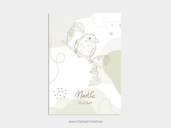 Geburtsbild in A4, Marthe mit Vogel, individuell anpassbar