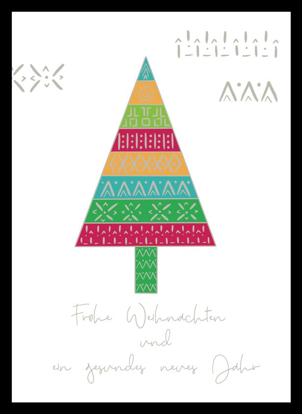 Weihnachtskarte Tannebuam mit indigenen Mustern, Kundenauftrag