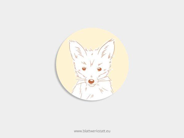 Aufkleber Durchmesser 4 cm rund mit Motiv Fuchs