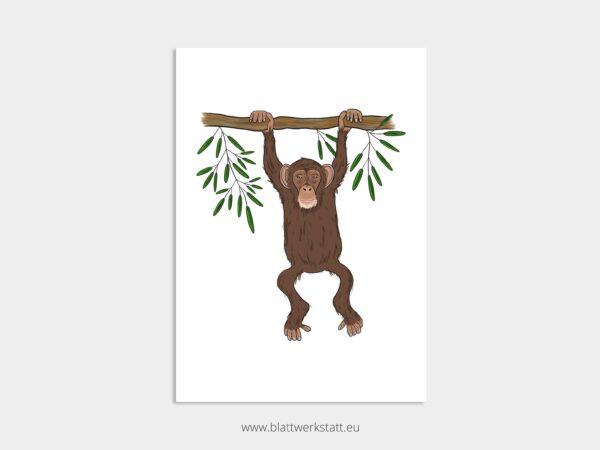 Tierposter A4, Plakat mit Affe