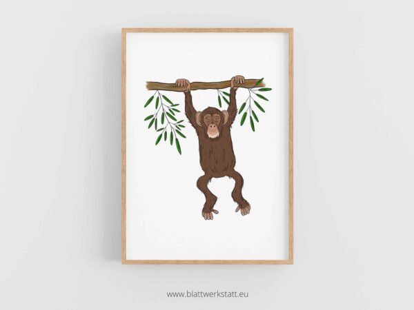 Tierposter A4, Plakat mit Schimpanse im Rahmen