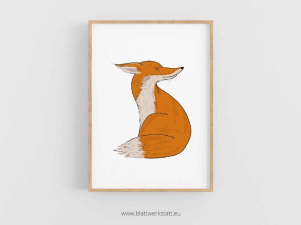 Tierposter A4, Plakat mit Fuchs im Rahmen