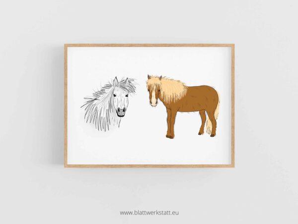 Tierposter A4, Plakat mit Pferd im Rahmen