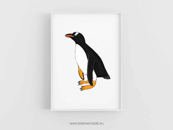 Tierposter A4, Plakat mit Pinguin im Rahmen