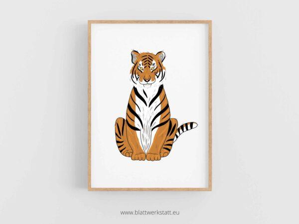 Tierposter A4, Plakat mit Tiger im Rahmen