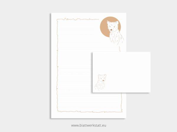 herunterladbares Briefpapier A4 Motiv Baer und Briefumschlag
