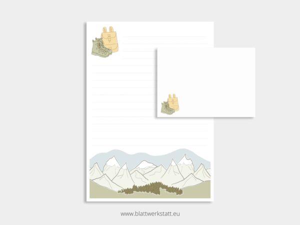 herunterladbares Briefpapier A4 Motiv Berge und Briefumschlag