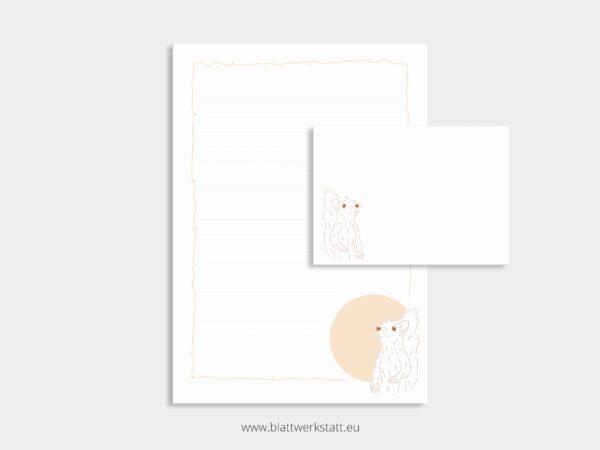 herunterladbares Briefpapier A4 Motiv Eichhoernchen und Briefumschlag