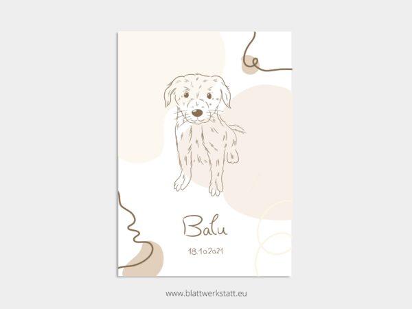 Geburtsbild fuer Hunde, in A4, Balu mit Hund, individuell anpassbar
