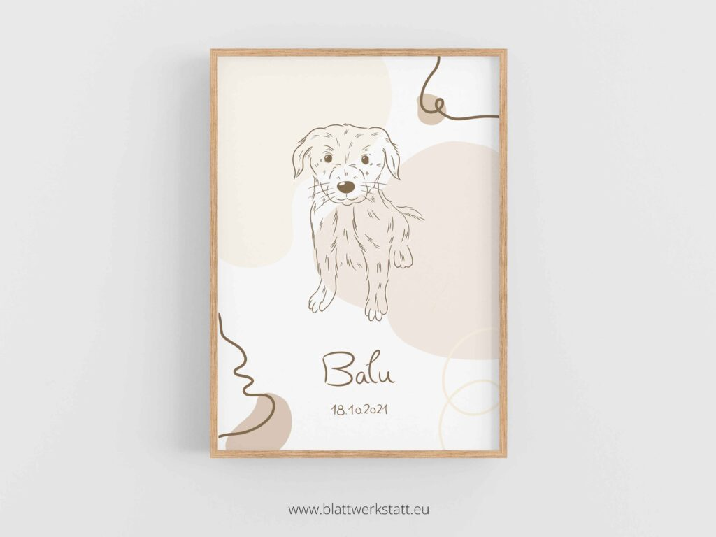 Geburtsbild fuer Hunde, in A4, Balu mit Hund, individuell anpassbar im rahmen