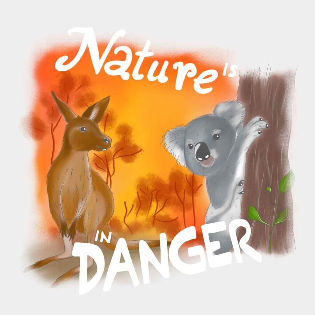 Natur is in danger, Koala und Kaenguruh vor brennendem Wald, Diana Pfister blatt.werk.statt Illustration + Gestaltung
