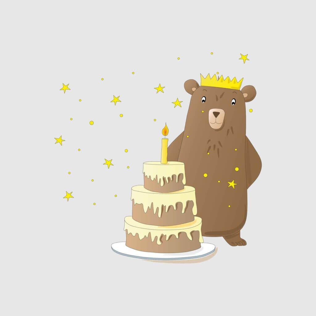 Bär mit Torte und Sternen am Geburtstag, Diana Pfister blatt.werk.statt Illustration + Gestaltung