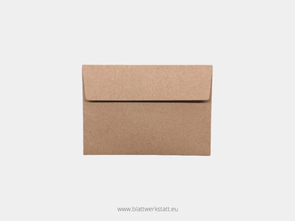 Umschlag Recyclingpapier braun für Postkarte