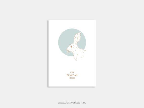 Postkarte Hase minimalistische Zeichnung mit Zitat