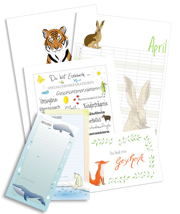 Poster, Kalender, Dankebild, Notizbloecke und Grusskarte, Diana Pfister blatt.werk.statt Illustration + Gestaltung