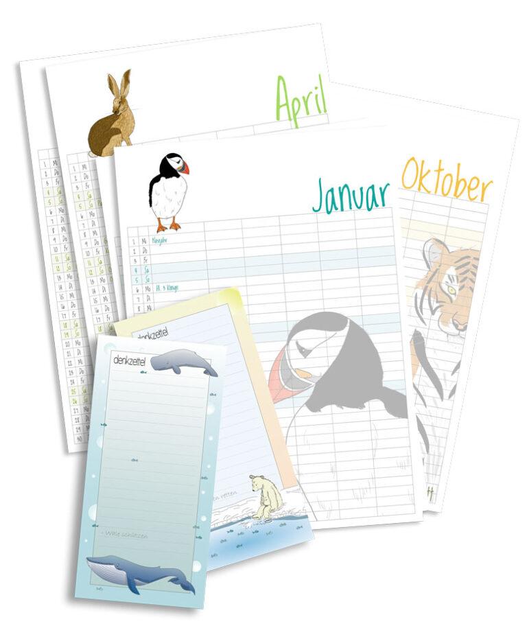 Kalenderblätter und Notizbloecke, Diana Pfister blatt.werk.statt Illustration + Gestaltung