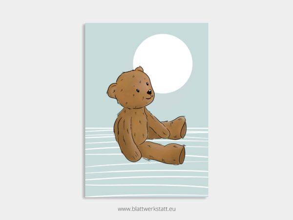 Poster A4, Plakat mit Kuschelteddy, Kuschelbär, Teddybär