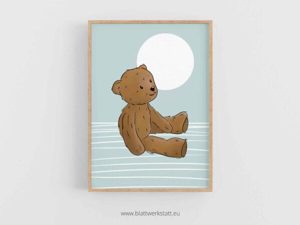 Poster A4, Plakat mit Kuschelteddy, Kuschelbär, Teddybär im Rahmen