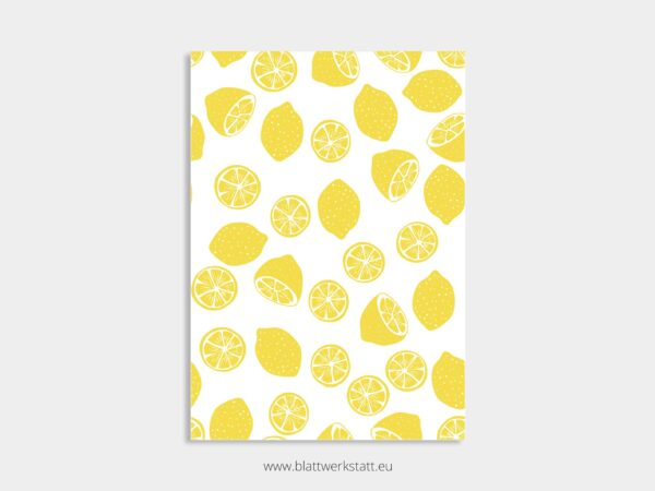 Poster A4, Plakat mit Zitronen Muster