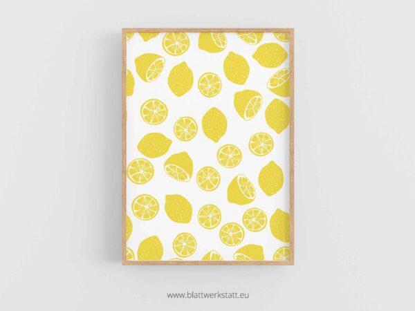 Poster A4, Plakat mit Zitronen Muster im rahmen