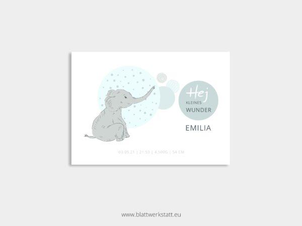 individuelle Postkarte zur Geburt mit Elefant blau