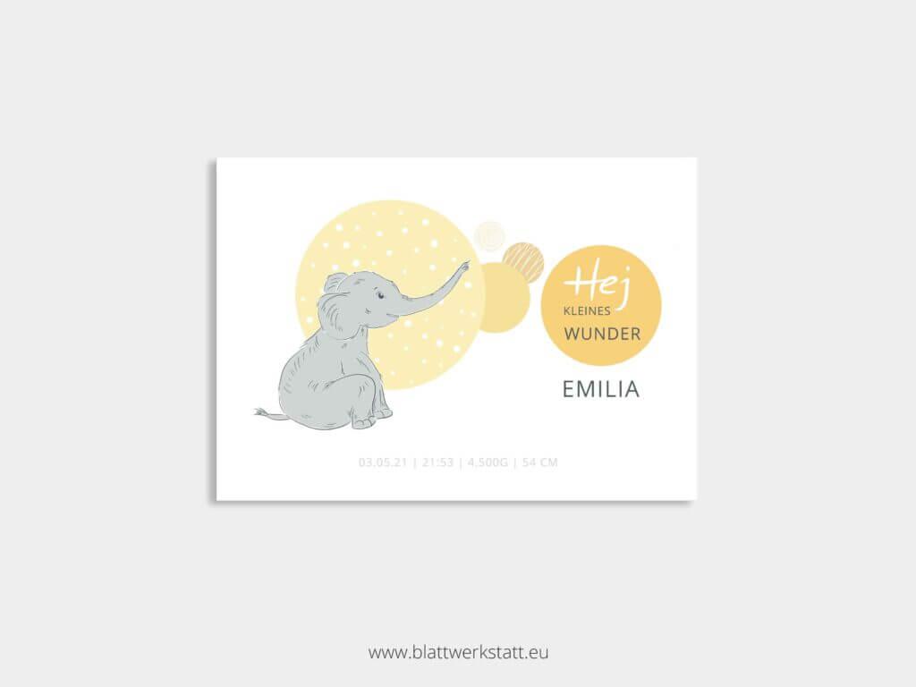 individuelle Postkarte zur Geburt mit Elefant gelb