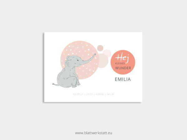 individuelle Postkarte zur Geburt mit Elefant rot