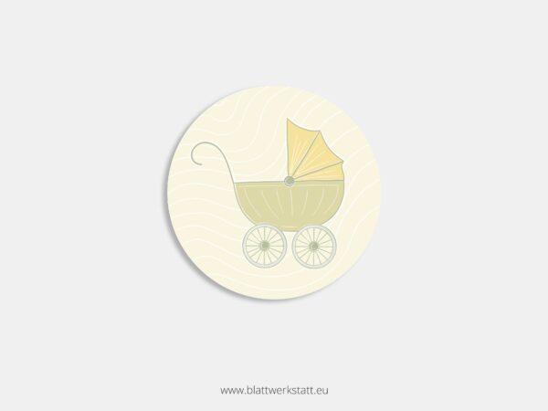 Aufkleber Durchmesser 4 cm rund mit Motiv Kinderwagen