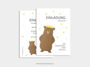 """Einladung Kindergeburtstag """"Bär mit Krone"""" ²"""