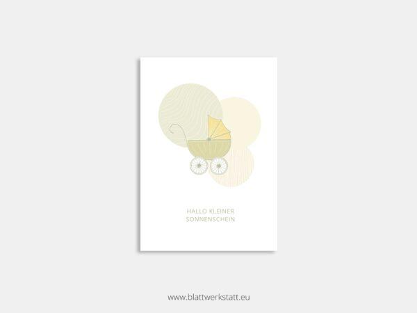 Postkarte Kinderwagen minimalistische Zeichnung mit Zitat