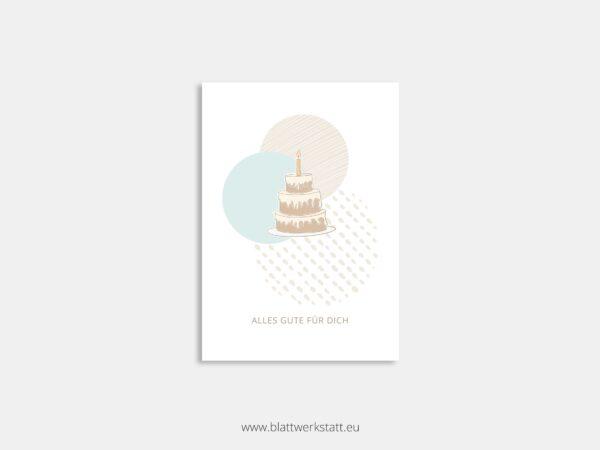 Postkarte Torte minimalistische Zeichnung mit Zitat