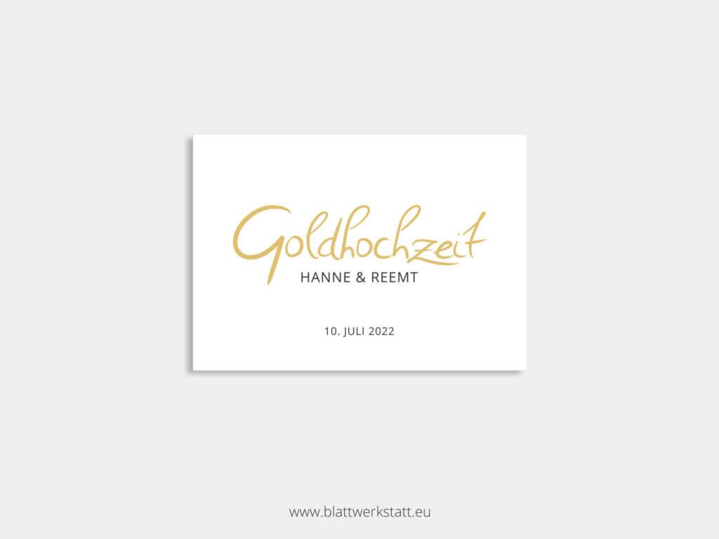 Postkarte mit Text ohne Zeichnung Goldhochzeit