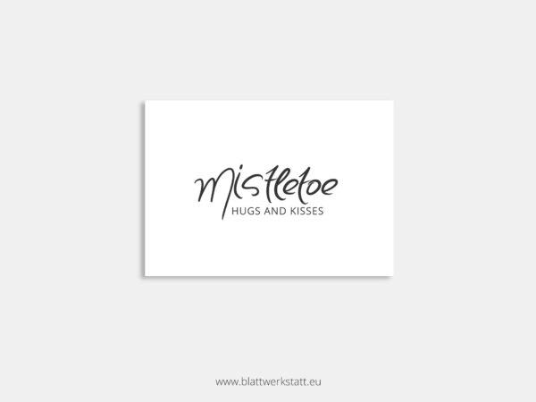 Postkarte mit Text ohne Zeichnung Mistletoe Mistelzweig