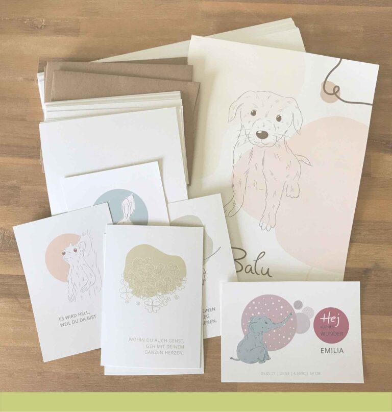 individuelle Papeterie nachhaltig gedruckt_Diana Pfister blatt.werk.statt Illustration + Gestaltung